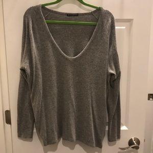 Brandy Melville gray v-neck sweater